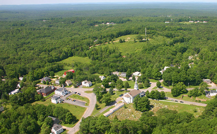 Aerial view of Rindge Center, Rindge, New Hampshire